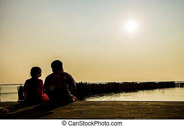 dois, crianças, sentar, praia