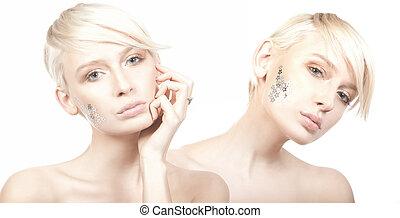 dois, cute, mulher, com, estrelas, ligado, rosto