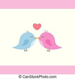 dois, cute, pássaros, é, beijando, caricatura