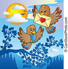 dois, cute, pássaros, com, carta amor, 2