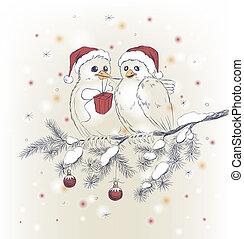 dois, cute, pássaros, com, chapéus natal
