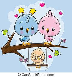 dois, cute, pássaros, e, um, pintinho