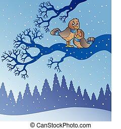 dois, cute, pássaros, em, nevado, paisagem