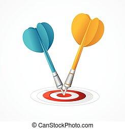 dois, dardos, golpe, a, target., vetorial