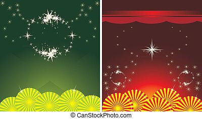 dois, decorativo, feriado, fundos