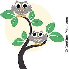 dois, doce, marrom, corujas, em, um, árvore