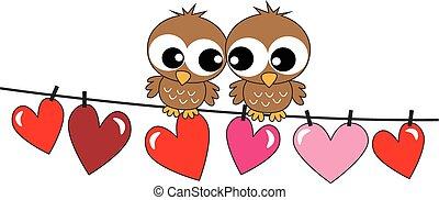 dois, doce, pássaros, apaixonadas