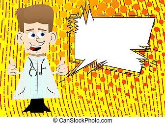 dois, doutor, hands., sinal, fazer, polegares cima
