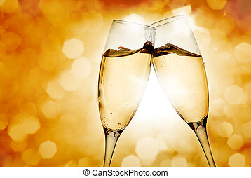 dois, elegante, óculos champanha