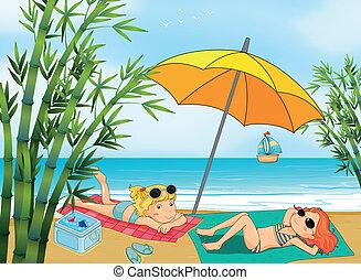 dois, encantador, meninas, relaxante, praia