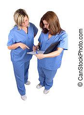 dois, enfermeiras