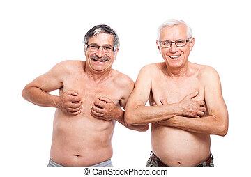 dois, engraçado, pelado, seniores