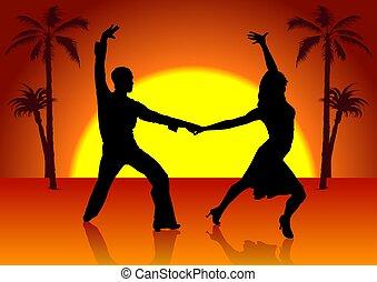 dois, espanha, dançarinos