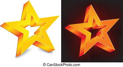dois, estrela ouro
