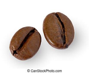 dois, feijões café, branco