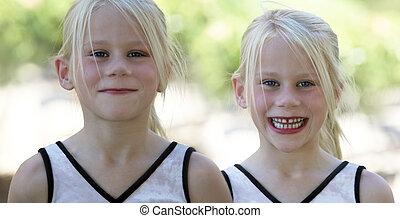 dois, feliz, meninas