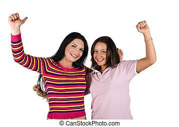 dois, feliz, mulher jovem, ganhado