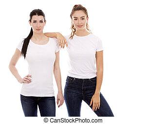 dois, femininas, amigos, branco, fundo