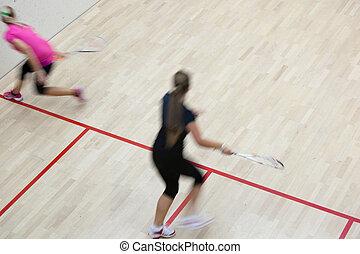 dois, femininas, squash, jogadores, em, rapidamente, ação,...