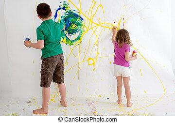 dois, filhos jovens, freehand, quadro, ligado, um, parede