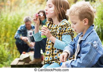 dois, filhos jovens, soprar borbulha, ligado, campo, piquenique