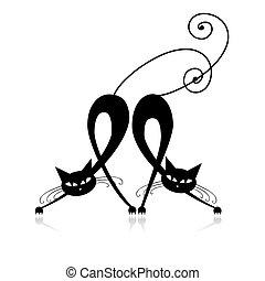 dois, gracioso, pretas, gatos, silueta, para, seu, desenho