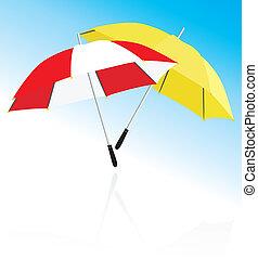 dois, guarda-chuvas