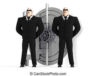 dois, guardas, proteja, um, cofre