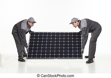 dois, homem, com, solar, bateria