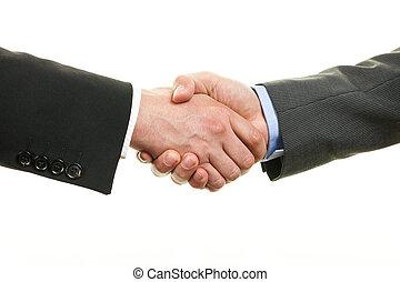 dois, homem negócios, apertar mão, isolado, branco, fundo