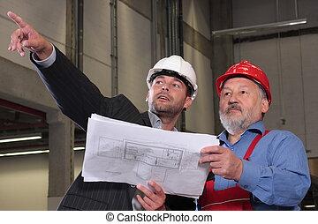 dois, homem, revisar, desenhos técnicos, aproximadamente, projeto