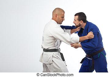 dois homens, luta, judo