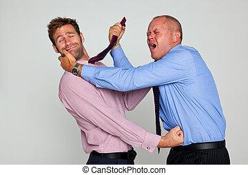 dois, homens negócios, luta
