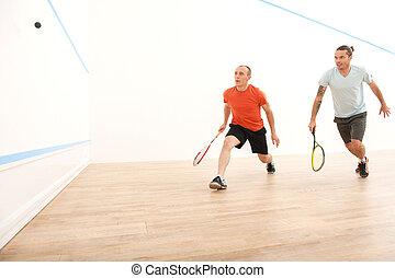 dois homens, tocando, partida, de, squash., squash,...