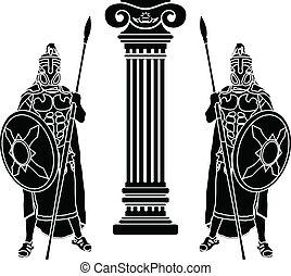 dois, hoplits, e, coluna