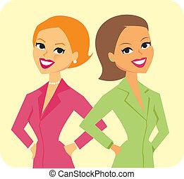 dois, ilustração, mulheres negócios