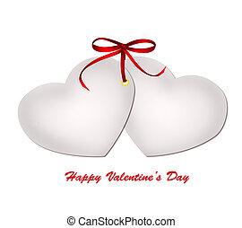 dois, isolado, cartão valentine, fundo, branca, arco, fita, vermelho