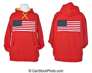 dois, lado, camisas, enrugado, flagged, vermelho