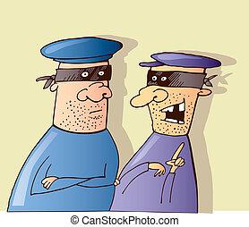 dois, ladrões, falando