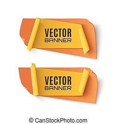dois, laranja, e, amarela, abstratos, banners.