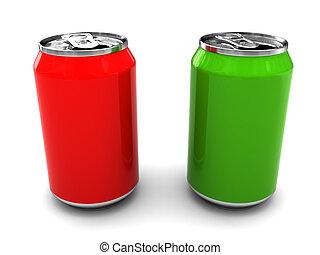 dois, latas alumínio
