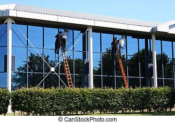 dois, limpadores janela, no trabalho