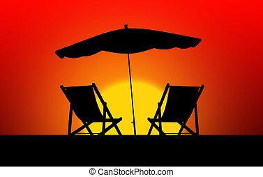 dois, loungers sol, e, parasols, em, pôr do sol