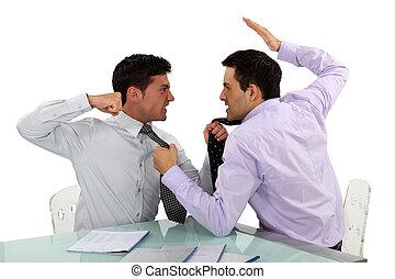 dois, luta, homens negócios