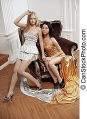 dois, luxo, moda, mulher