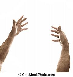 dois, mãos masculinas, ligado, um, vazio, fundo