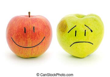 dois, maçãs, com, emoções