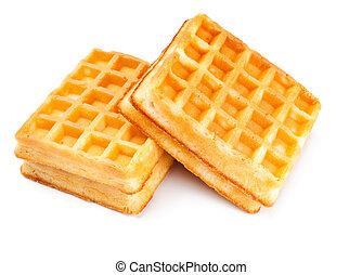 dois, macio, waffles
