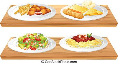 dois, madeira, bandejas, com, quatro, pratos, cheio, de,...