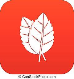 dois, manjericão, folhas, ícone, digital, vermelho